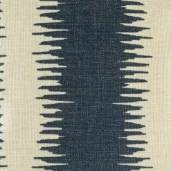 Close up of cushion cover showing dark navy textured strips