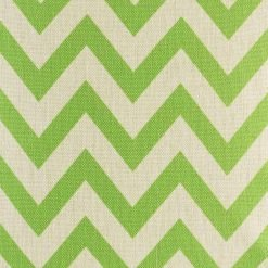 Close view of green chevrons on cushion cover