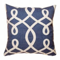 Blue cushion cover with light swirly pattern