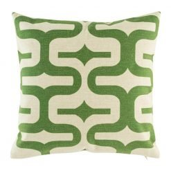 Cushion cover with swirling geometric pattern in green