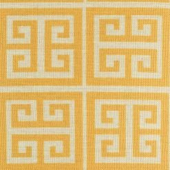 Zoomed in view of yellow and white pattern on cushion