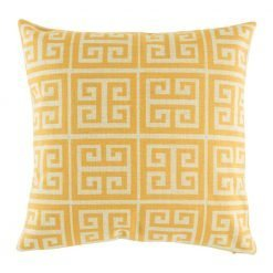 Yellow cushion cover with light coloured square pattern