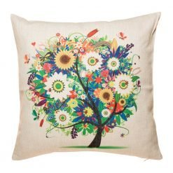 Bright and colourful tree with lots of flowers and birds on cushion cover