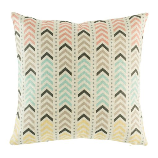 Soft colours of pink, brown and yellow arrows on cushion cover