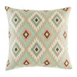 Light toned pink, blue and brown pattern cushion cover