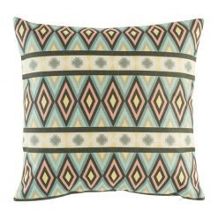Bold coloured diamond pattern cushion cover with yellow, pink and browns