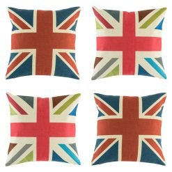 Collection of Union Jack cushions with two traditional and two retro colours