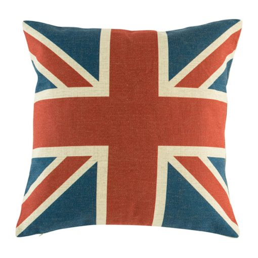 Union Jack Cushion Cover Front View with blue and red union jack