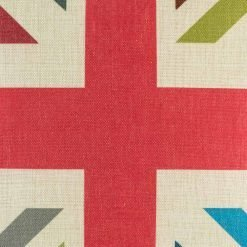 Close up view of vintage coloured union jack cushion cover