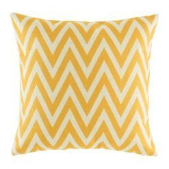 Bright yellow zig zag shapes one cotton linen cushion cover