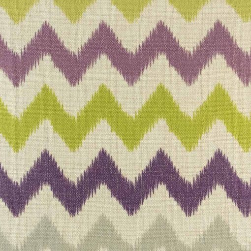 Close up of purple and green chevron cushion cover