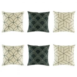 Sophisticated 6 cushion cover set with light black lines and 2 dark cushion with light shell design