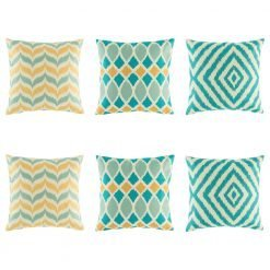 Bold 6 cushion cover set with blue diamond, blue and yellow wave and teal and yellow chevorn