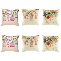 Detailed 6 cushion cover set with 3 different style of avery and bird cushions