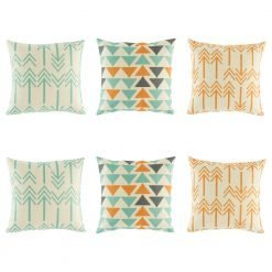 6 cushion cover collection that features arrow and triangle patterns in teal, orange and dark grey
