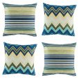 Bright blue, green and yellow 4 piece cushion cover set