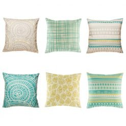 6 cushion cover collection that has individual dakota designs all with teal, yellow and grey