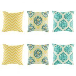 6 cushion cover set with yellow chevron x 2, yellow and teal floral emblem x 2 and teal royal swirl cushion x 2