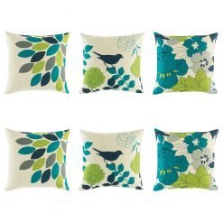 Fresh 6 cushion cover collection with teal, dark blue, green colours and leaf, flower and bird images