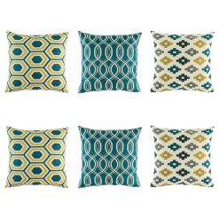Yellow, blue and grey cushion cover set with striking swirl, repeating pixel and hexagon design