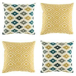 4 cushion cover collection with yellow, dark blue and grey colours in diamond and pixel designs