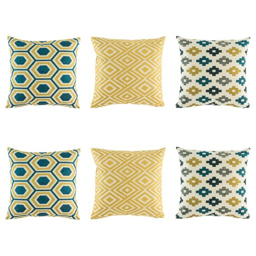 Classy 6 cushion cover set with hexagon blue and yellow cushion, yellow diamond and grey blue and yellow pixel pattern