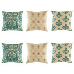 Elegant cushion cover set in teal and natural linen with peacock motif, polka do and royal swirl designs