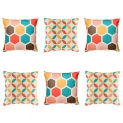 Fun and colourful 6 cushion cover collection with repeating shape design in teal, yellow, pink and brown