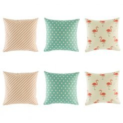 Funky cushion cover collection with light blue teal polka dot, pink stripe and stunning pink flamingo patterns