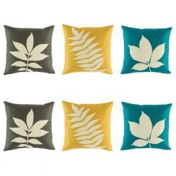 Cushion set featuring 2 brown, 2 yellow and 2 blue cushion covers with leaf motifs