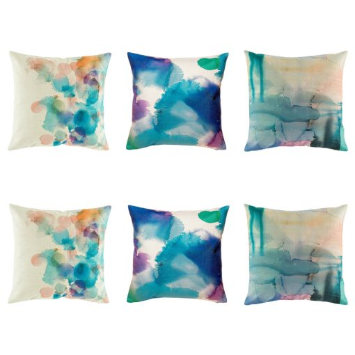 6 cushion cover collection with all featuring water colour patterns in purple, teal and light blue