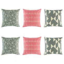 6 cushion cover collection with 2 grey geometric, 2 pink lined and 2 grey triangle styles