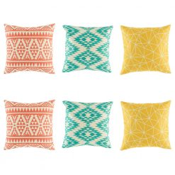Colourful teal yellow and pink tone reba cushion collection