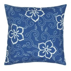 45x45cm outdoor cotton linen cushion with blue floral pattern