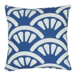 45x45cm outdoor cotton linen cushion with blue and white fan design
