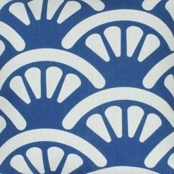 Close up of blue and white fan pattern cotton linen cushion