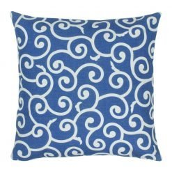 45x45cm outdoor cotton linen cushion with swirl pattern