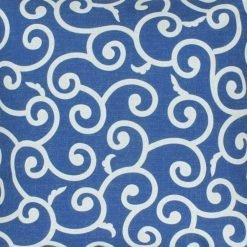 Close up cotton linen cushion with blue and white swirl pattern