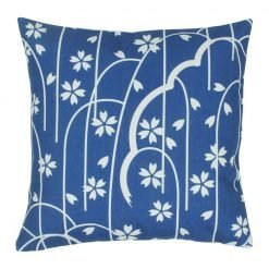 45x45cm cotton linen cushion with white and blue colours