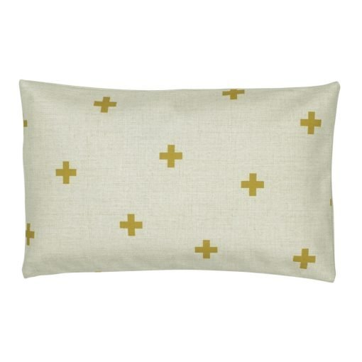 White and gold rectangular outdoor linen cushion cover