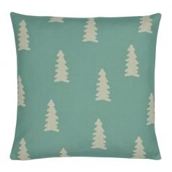 Square teal outdoor cotton linen cushion with pine trees