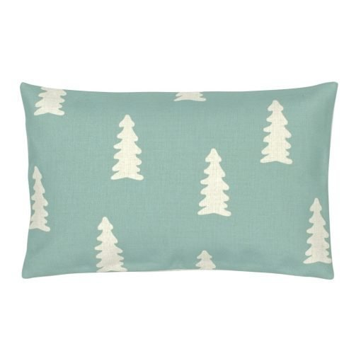 Rectangular linen outdoor cushion with tiffany blue and white colours