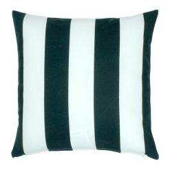 Striped outdoor cushion with black and white colours