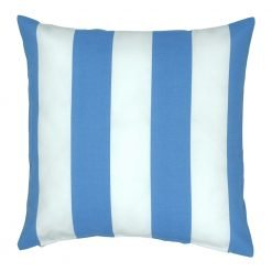 Square light blue and white cushion