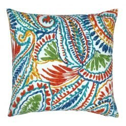 Colorful outdoor cushion cover with fern pattern