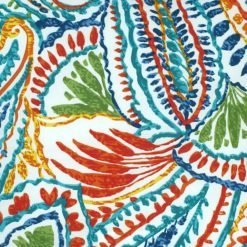 Close up of colorful outdoor cushion with nature design