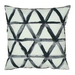 Modern velvet cushion cover with black and white triangles design