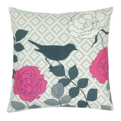 Square cotton linen cushion cover with bird and flowers pattern