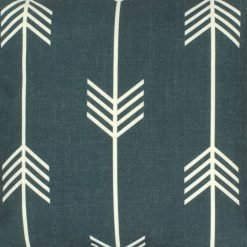 Close up of outdoor cotton linen cushion with arrow design