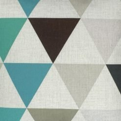 Close up of modern cotton linen cushion cover with triangle design